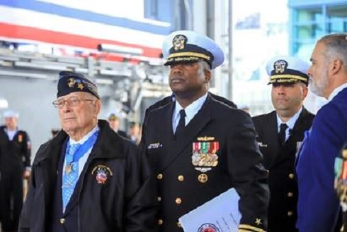 Navy Commissions USS Hershel Woody Williams in Ceremony Honoring WWII Medal of Honor Winner