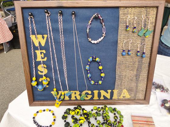 Handmade WVU jewelry made locally by Gems by Ginny (Carrie Robinson)